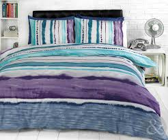 tye dye printed bedding contemporary striped duvet cover cotton rich bed set blue purple