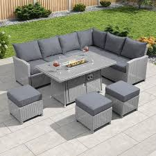 fire pit coffee table and sofa set