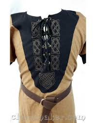 j575 light brown linen viking tunic w leather laced front and knotwork embroidery