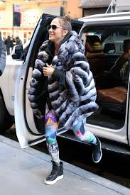 jennifer lopez in faux fur coat arrives at a gym in new york 11 10 2017