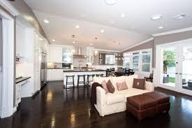 open kitchen living room designs. Furniture, Open Floor Plan Layout Dark Gray Wall Paint Ceiling Lights Cherry Wooden Laminate Kitchen Living Room Designs