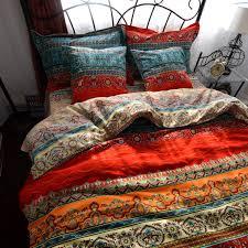 boho style duvet cover set colorful stripe sheet sets bohemia bedding set 4pcs king size home kitchen
