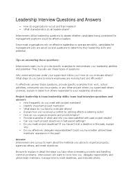 Leadership Interview Questions Competence Human Resources