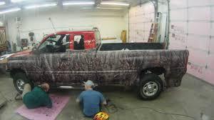 camo truck wrap dodge oak ambush pattern matte black time lapse you