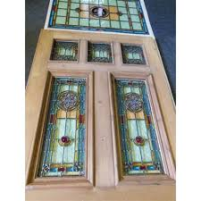 stained glass front entry door with side panels glass