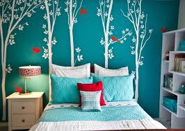 Turquoise Teenage Girl Bedroom Paint Color With White Trees Wall Decal And  White Bookshelf