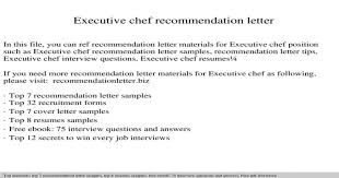 Executive Chef Interview Questions Executive Chef Recommendation Letter