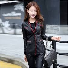 women leather jacket skin coat plus size fashion single ted v neck cross back leather outerwear high quality