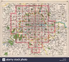 London Index Map Roads Bacon 1948 Old Vintage Plan Chart