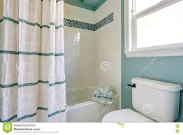 White Mosaic Bathroom White And Blue Bathroom Interior With Mosaic Tile Trim Stock Photo