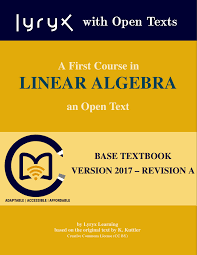 open textbook library a first course in linear algebra