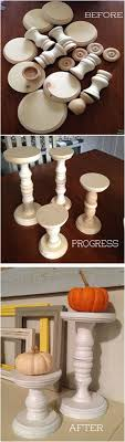 My DIY Candle sticks - local craft store wood bases and shapes, glued, then  painted and distressed. make thread holders