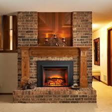 transitional fireplace with bricks accent