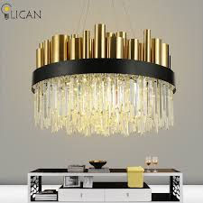 lican post modern luxury crystal chandelier for lobby living room villa gold hanging chandelier lighting fixtures home decor