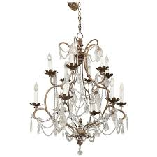 italian early 19th century dd beaded chandelier iron and wood