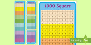 Timetables Chart Up To 1000 1000 Number Square With Rows Of 10 1000 Number Square