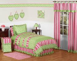 Pink And Green Bedroom Olivia Pink And Green Girls Bedding Kids Bedding Twin 4 Piece Set