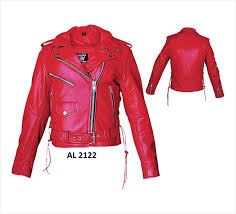 las classic red leather motorcycle biker rider jacket w side lace