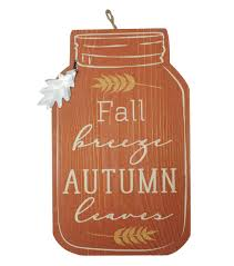 simply autumn wall decor with tag fall breeze autumn leaves on orange