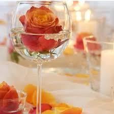 single rose wine glass centerpiece