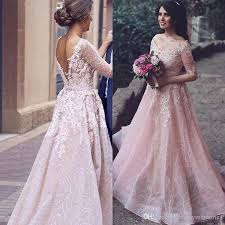 discount arabic 2017 blush pink colored wedding dress a line v