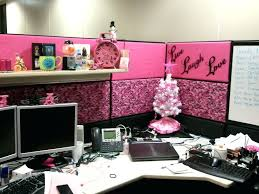 Decorate Office Cube Cubicle Decor With Pink Nuance And Small White F Tree On Wooden