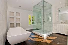 admirable bathroom with unique bathtub for freestanding tub with shower also dark brown wood flooring