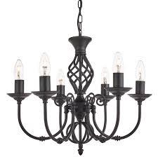 zanzibar matt black wrought iron 6 light chandelier