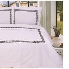 superior cotton serena greek key embroidery 3 piece duvet cover set