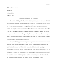 essay annotated bibliography self evaluation aug  essay 3 annotated bibliography self evaluation aug 02 2012 lambert 1 robert curtis lambertenglish 101professor bolton02 2012