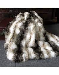 italian wolf faux fur throw large