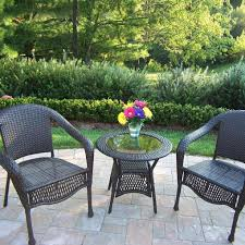 oakland living resin wicker patio bistro set with glass top table coffee