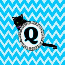 Q Digital Art - Q Cat Chevron Monogram by Paintings by Gretzky