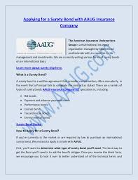 surety bond form applying for a surety bond with aaug insurance company ltd