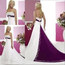 discount purple and white 2015 a line wedding dresses with