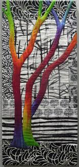 Best 25+ Tree quilt ideas on Pinterest | Christmas quilt patterns ... & Exuberant Trees art quilt by Terry Aske-love that the tree is multicolored  against white/black background Adamdwight.com
