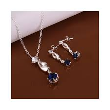 s588 premium stone plated pendant necklace drop earrings fashion jewelry set blue tvc mall com