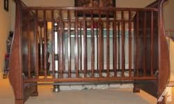 simmons easy side crib. simmons drop-side crib. made from real maple wood with a dark stain. easy side crib )