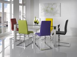 colorful dining room furniture sets with fabulous rectangle glass dining table metal chrome base legs and colorful leather upholstery chairs