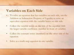 variables on each side to solve an equation that has variables on each side use