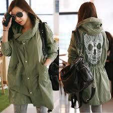 womens army green jacket coat long hooded parka warm winter trench military new