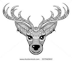 Small Picture Deer Coloring Pages for Adults Zentangle vector Reindeer for