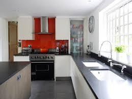Kitchen L Shaped Island Kitchen Cabinet Red Glass Backsplash Self