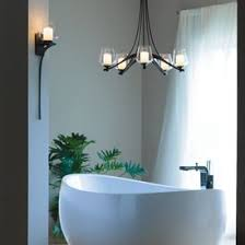 hand forged bathroom lighting. the flowing, hand-forged steel ribbons of our five-armed ribbon chandelier crescendo midway between each pairing glass dome over tube. hand forged bathroom lighting i