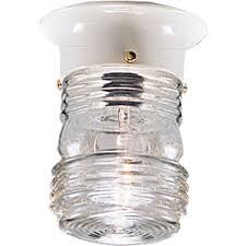 Outdoor Ceiling Flush Mount Light Fixture With Clear Marine Glass - Flush mount exterior light fixtures