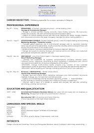 Marketing Resume Objective Professional Resume Templates