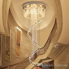 high end crystal ceiling chandeliers k9 crystal spin shape modern led chandelier lighting pendent lamps for duplex stairs villa hotel hall