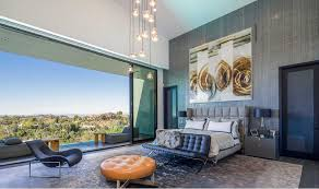 modern mansion master bedroom. Modern Mansion - Master Bedroom With Panoramic View From Beverly Hills Home Designed By Kirk Nix O