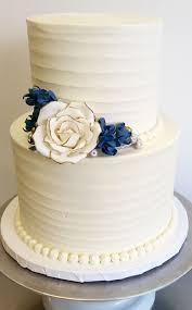 Textured Buttercream With Gum Paste Rose And Blossoms 2 Tier