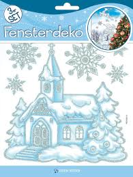 Fensterdeko 3erset Weihnachten Kirche